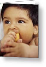 Baby Boy Eating Greeting Card by Ian Boddy