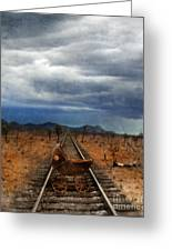 Baby Buggy On Railroad Tracks Greeting Card