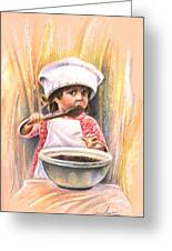 Baby Cook With Chocolade Cream Greeting Card