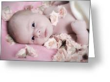Baby In Bed Of Roses Greeting Card