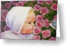 Baby Meets Hummingbird Greeting Card