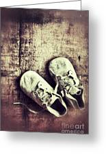 Baby Shoes On Wood Greeting Card