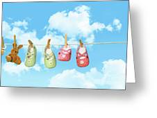 Baby Shoesr And Teddy Bear On Clothline Greeting Card
