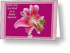 Baby Shower Invitation - Pink Stargazer Lily Greeting Card