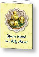 Baby Shower Invitation - Yellow Ducklings Figurine Greeting Card