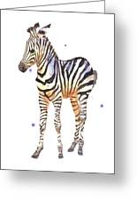 Baby Zebra Nursery Animal Art Greeting Card