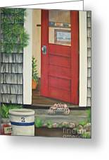 Backdoor Visitors Three  Greeting Card