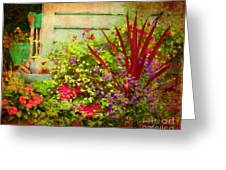 Backyard Flower Garden Greeting Card