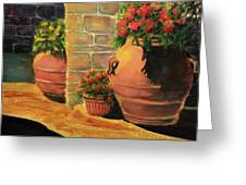 Backyard Pots Greeting Card