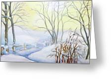 Backyard Winter Scene Greeting Card