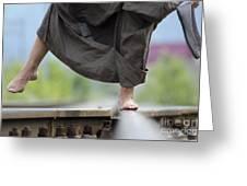 Balance On Railroad Tracks Greeting Card