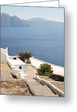 Balcony Oia Santorini Greek Islands Greeting Card