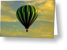 Balloon Ride Through Gold Clouds Greeting Card