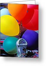 Balloons Tied To Parking Meter Greeting Card