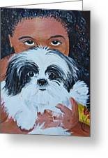 Bandit And Me Greeting Card by Peggy Patti