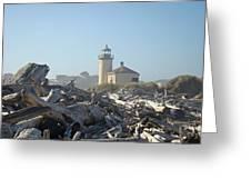 Bandon Oregon Lighthouse Art Prints Driftwood Greeting Card by Baslee Troutman