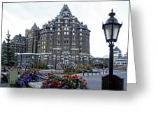Banff Springs Hotel In The Canadian Rocky Mountains Greeting Card