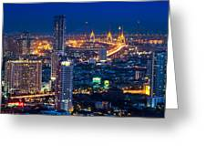 Bangkok Capital City Of Thailand Nightscape Greeting Card by Arthit Somsakul