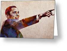 Barack Obama Watercolor Greeting Card by Steve K