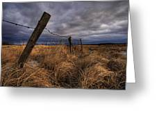 Barbed Wire Fence Posts With Dark Sky Greeting Card