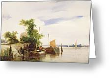 Barges On A River Greeting Card
