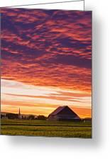 Barley Fields, Barn, Church Greeting Card