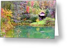 Barn And Pond In The Fall Greeting Card