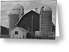 Barn And Silos In Black And White Greeting Card