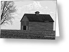Barn And Tree In Black And White Greeting Card