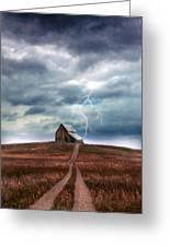 Barn In Lightning Storm Greeting Card