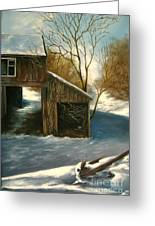 Barn In The Snow Greeting Card