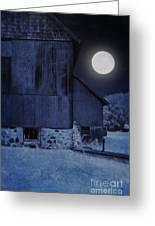 Barn Under A Full Moon Greeting Card