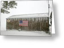 Barn With American Flag During Blizzard Of '05 On Cape Cod Greeting Card