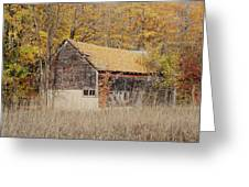 Barn With Autumn Leaves Greeting Card