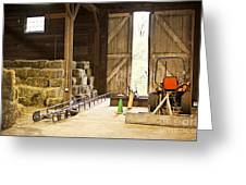 Barn With Hay Bales And Farm Equipment Greeting Card