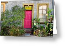 Barrio Door Pink And Gray Greeting Card