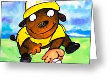 Baseball Dog 3 Greeting Card