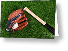 Baseball Glove Bat And Ball On Grass Greeting Card