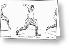 Baseball Pitching, 1889 Greeting Card