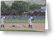 Baseball Playing Hard Digital Art Greeting Card