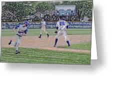Baseball Runner Heading Home Digital Art Greeting Card