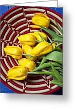 Basket Full Of Tulips Greeting Card