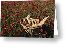 Basket Of Bread In A Poppy Field Greeting Card