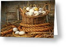 Basket Of Eggs On Straw Greeting Card by Sandra Cunningham