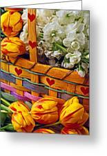Basket Of Spring Flowers Greeting Card