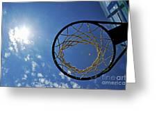 Basketball Hoop And The Sun Greeting Card