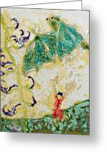 Bat With Woman In Red Dress Greeting Card