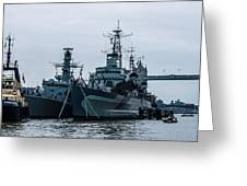 Battleship At Tower Bridge Greeting Card