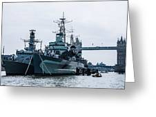 Battleships And Tugboat Greeting Card