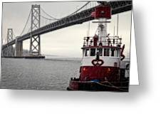 Bay Bridge And Fireboat In The Rain Greeting Card